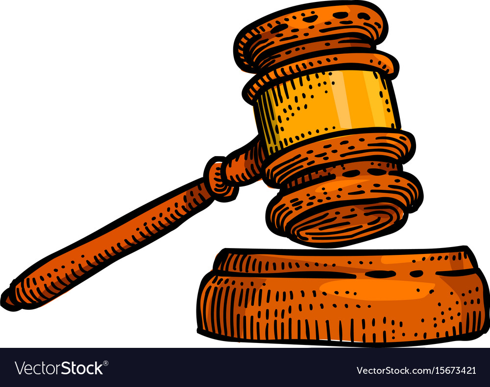 Cartoon image of law icon judge gavel symbol