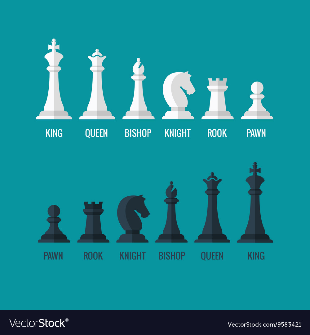 Chess pieces king queen bishop knight rook pawn