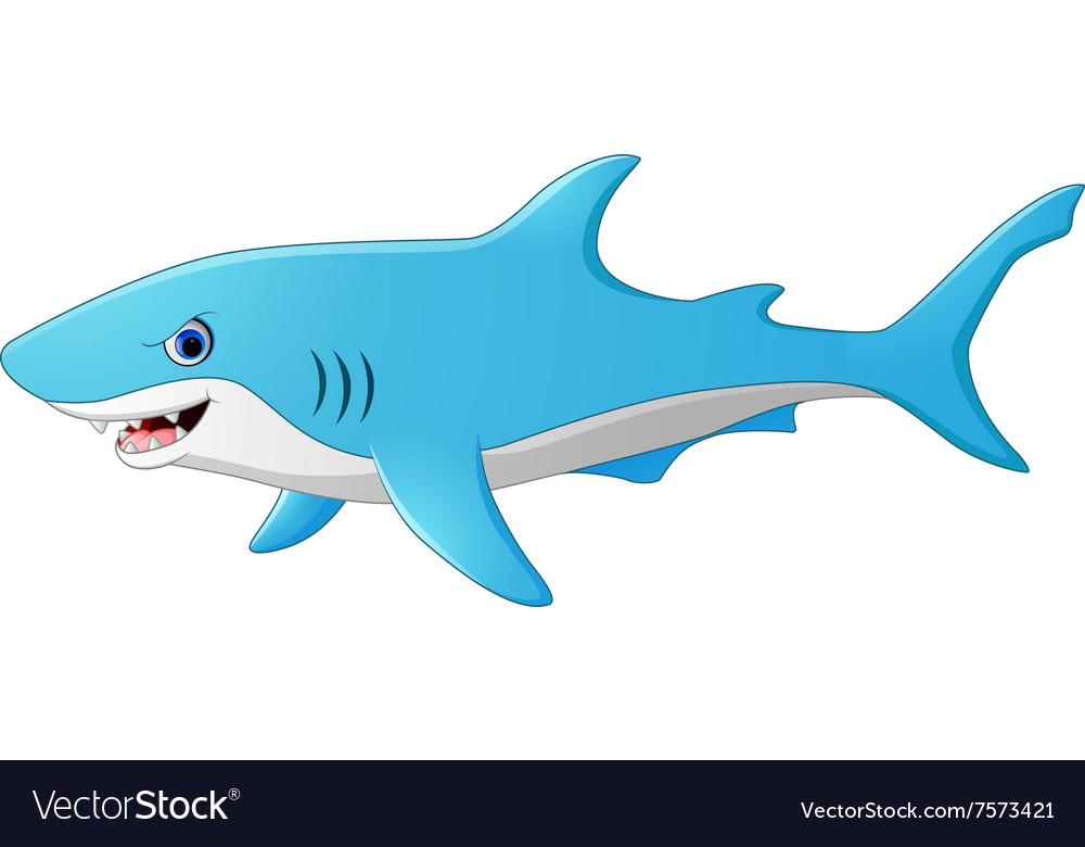 Cute cartoon shark Royalty Free Vector Image - VectorStock