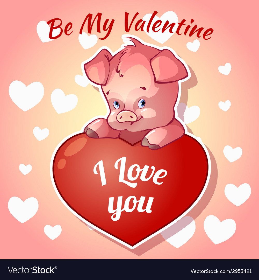 Cute piggy for Valentines Day