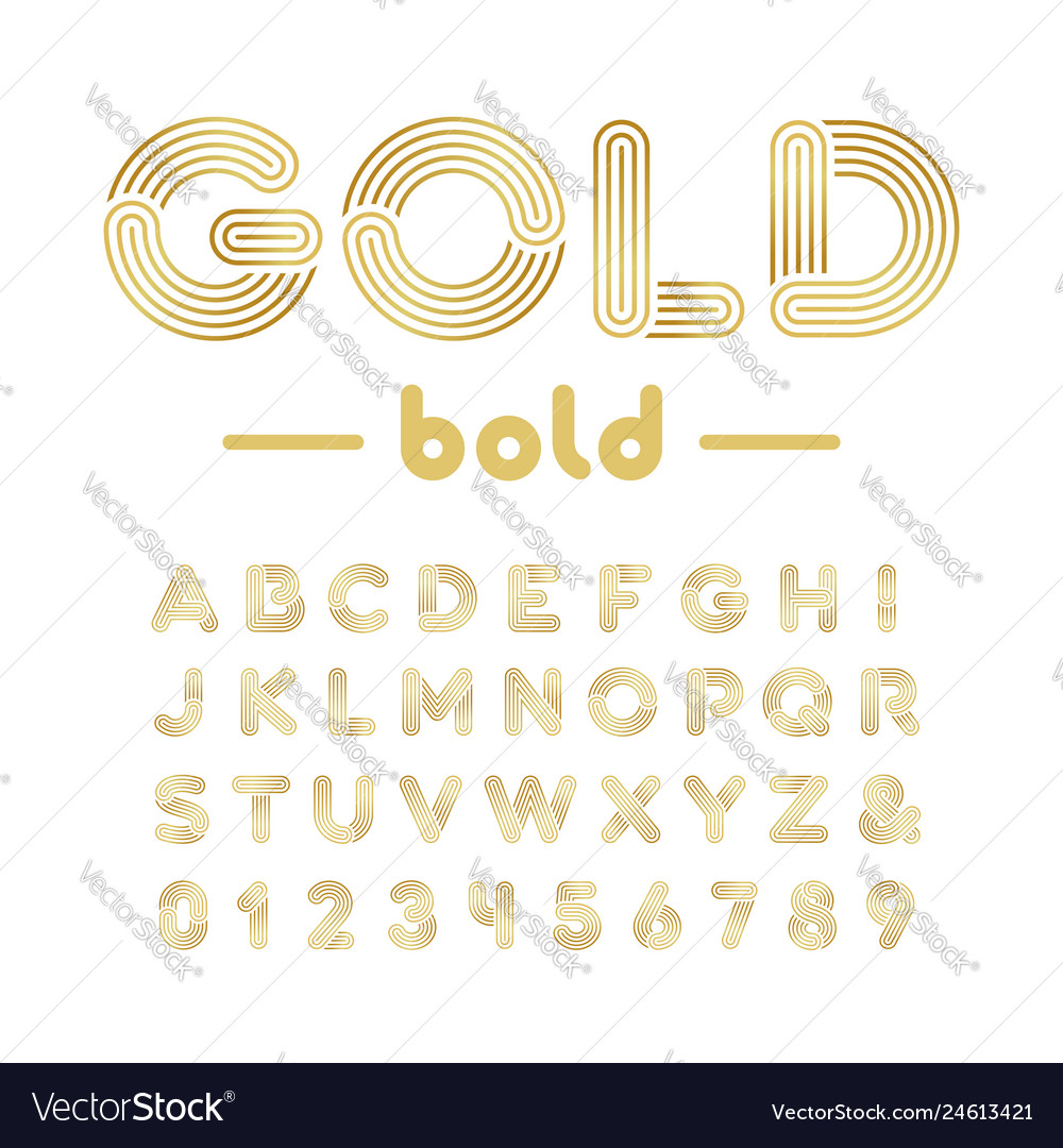 Golden font alphabet with gold effect letters and