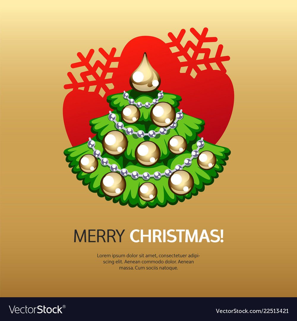 Greeting card with christmas tree and gold