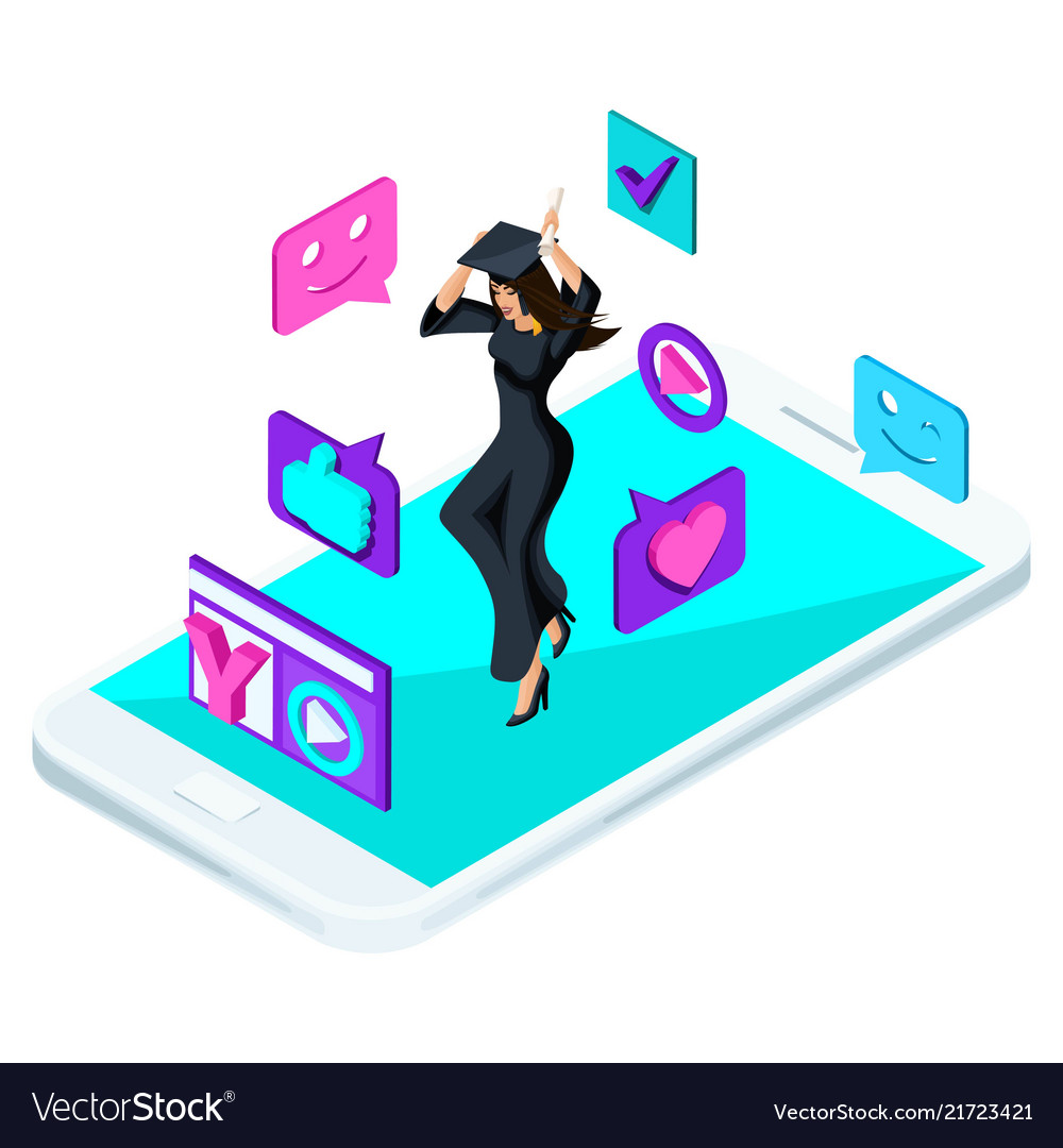Isometric girl graduate jumping is happy academ