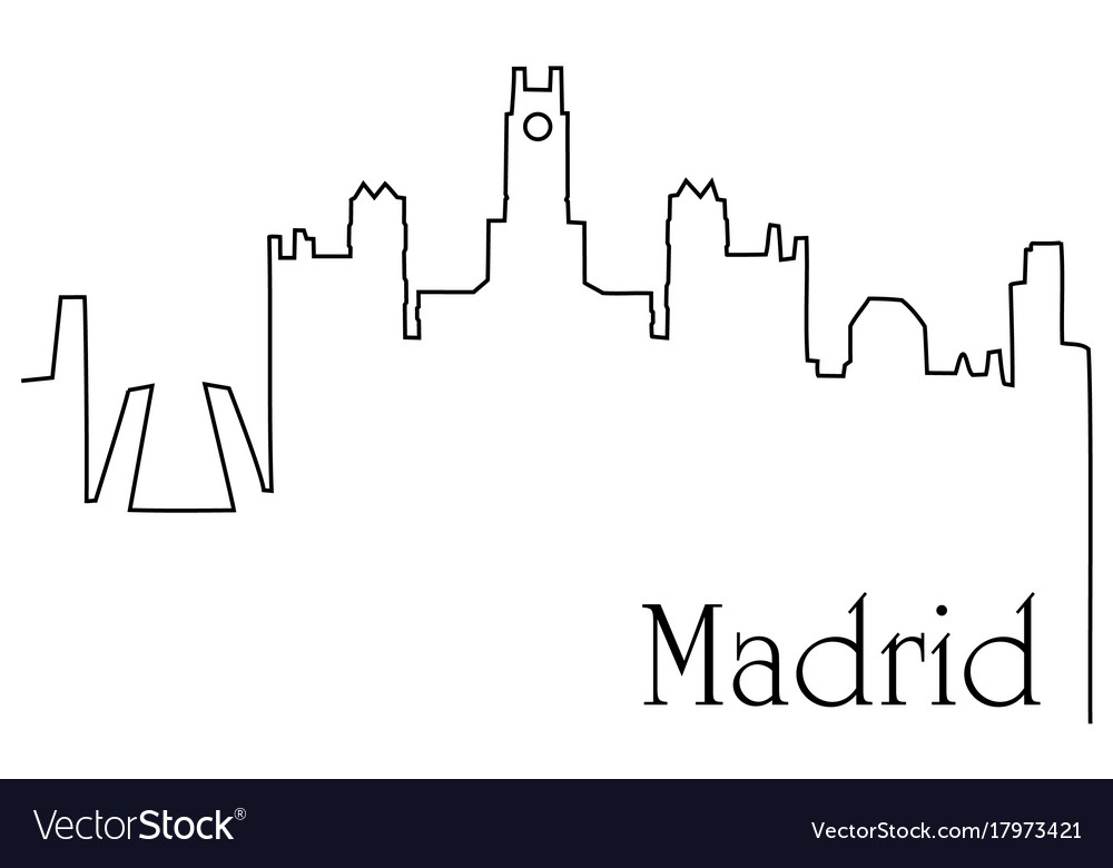 Madrid city one line drawing background
