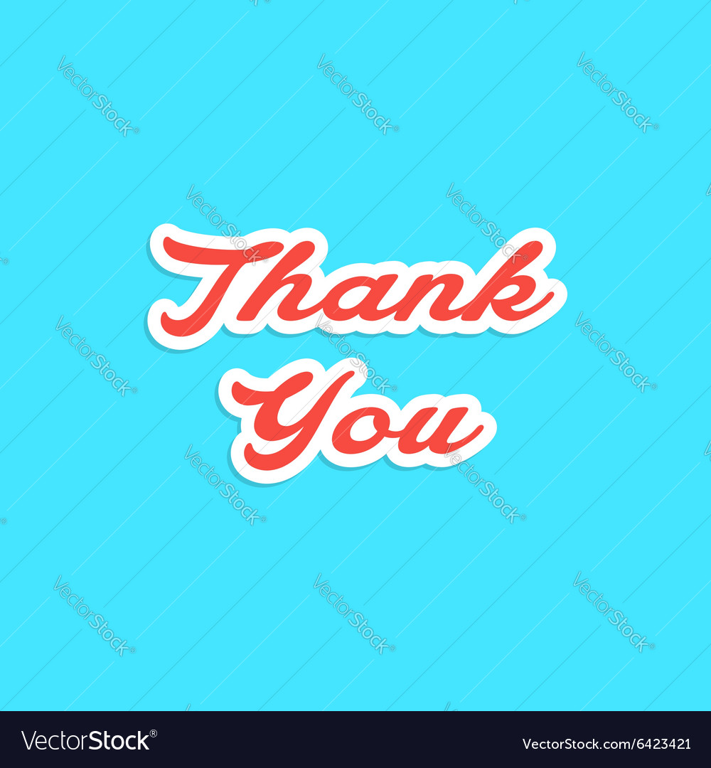 Red inscription thank you sticker