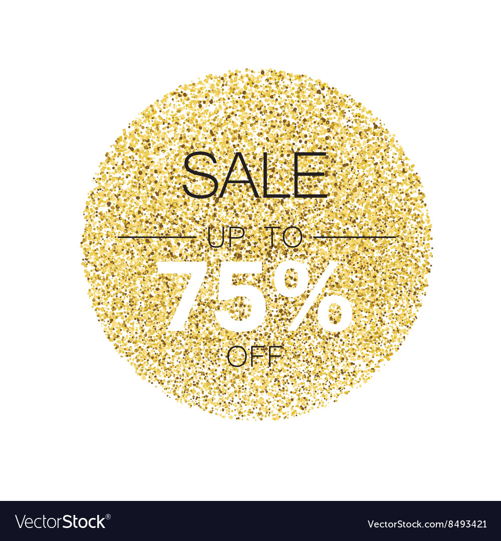 Sale tag template Circle with gold glitter