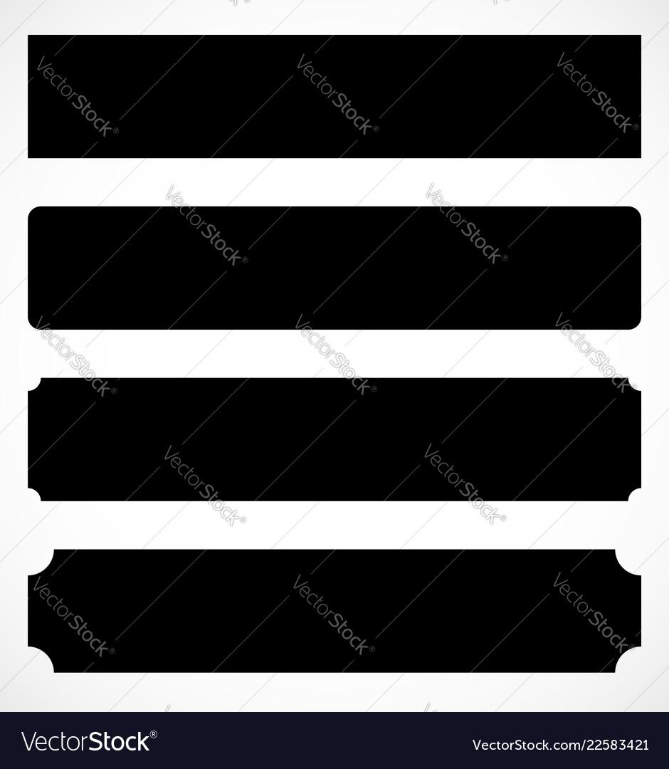 set of metal plaque banner shapes precious metal vector image