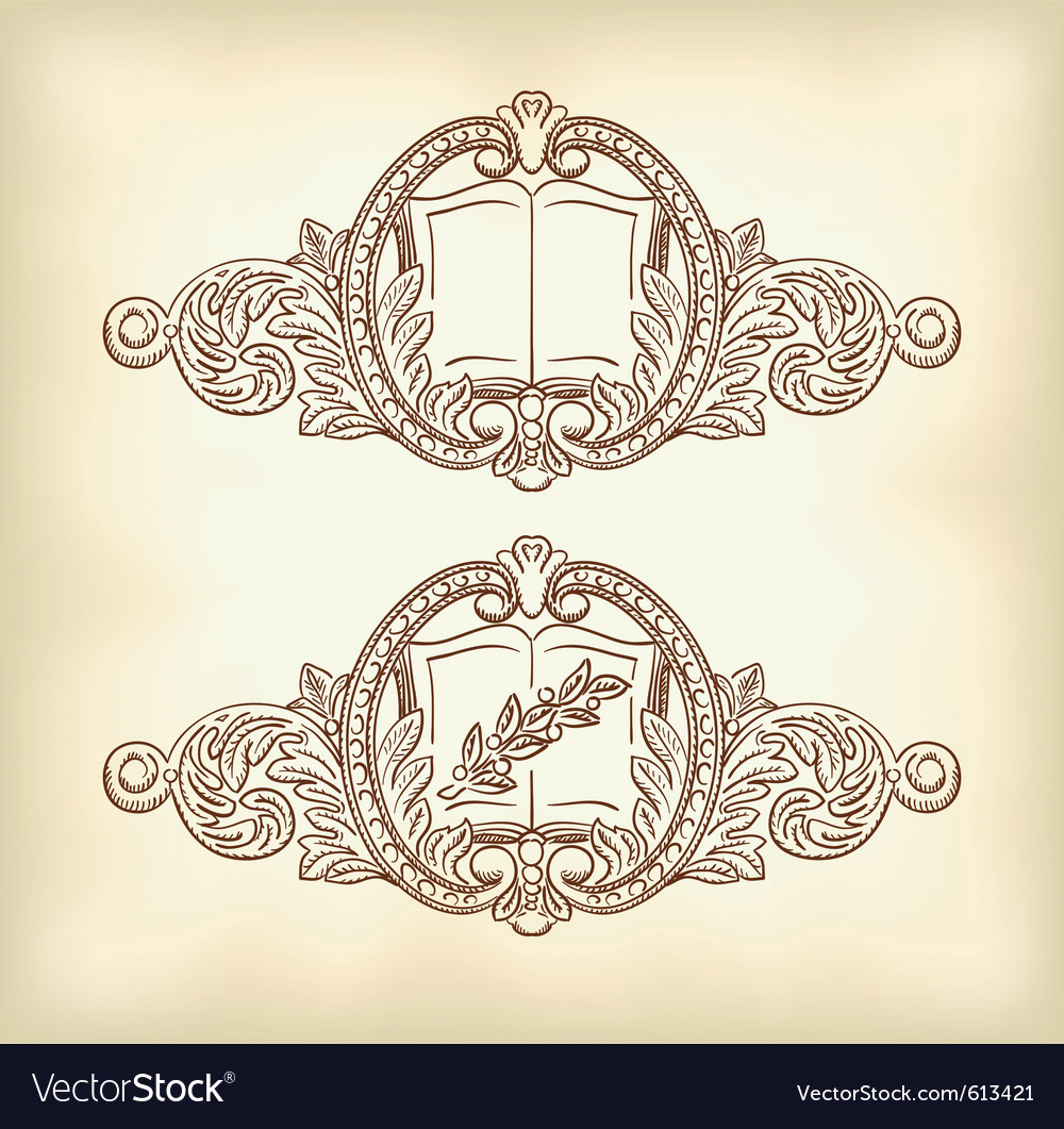 Vintage decor with an open book and a laurel branc vector image