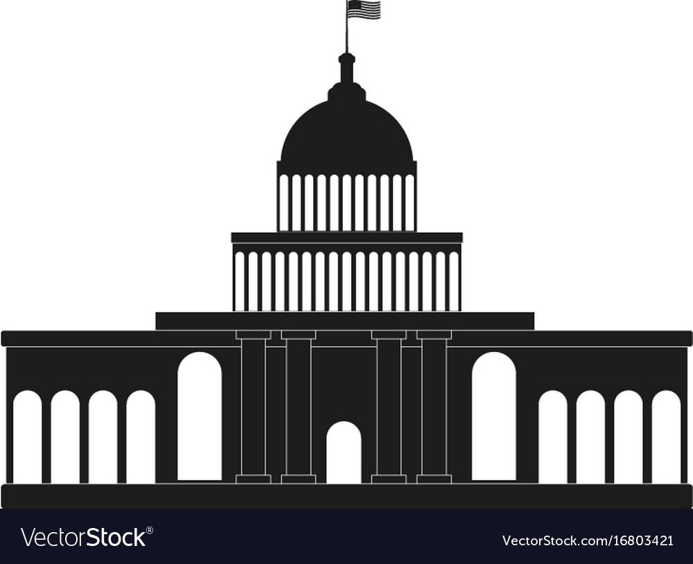 white house congress black icon on white vector image rh vectorstock com White House Aerial White House Bathrooms
