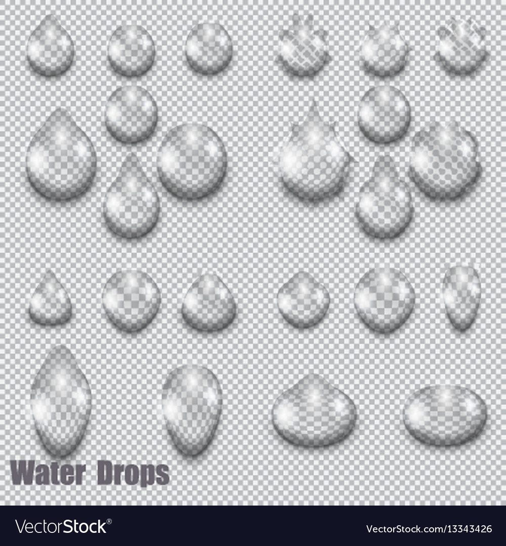 A set of transparent drops on a checkered