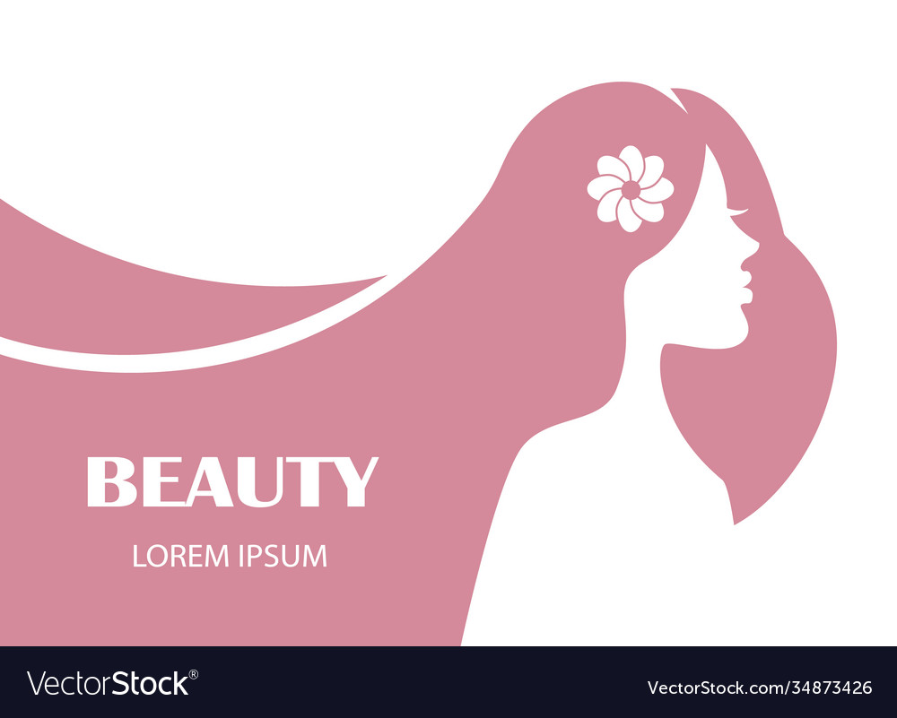 Beauty female profile face silhouette with long ha
