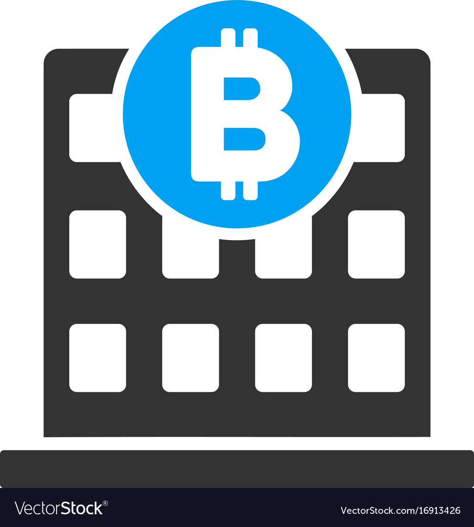 Bitcoin Office Building Flat Icon Royalty Free Vector Image