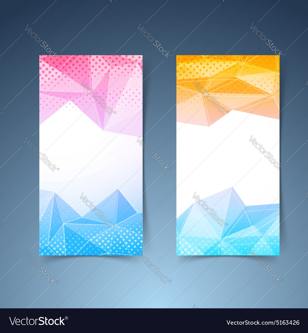 crystal pattern vertical flyer template set vector image