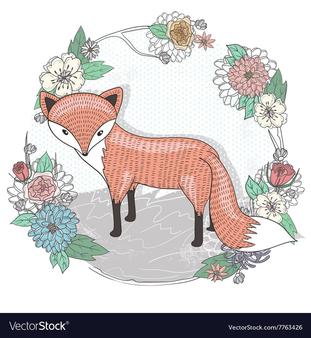 Cute little fox Flower frame