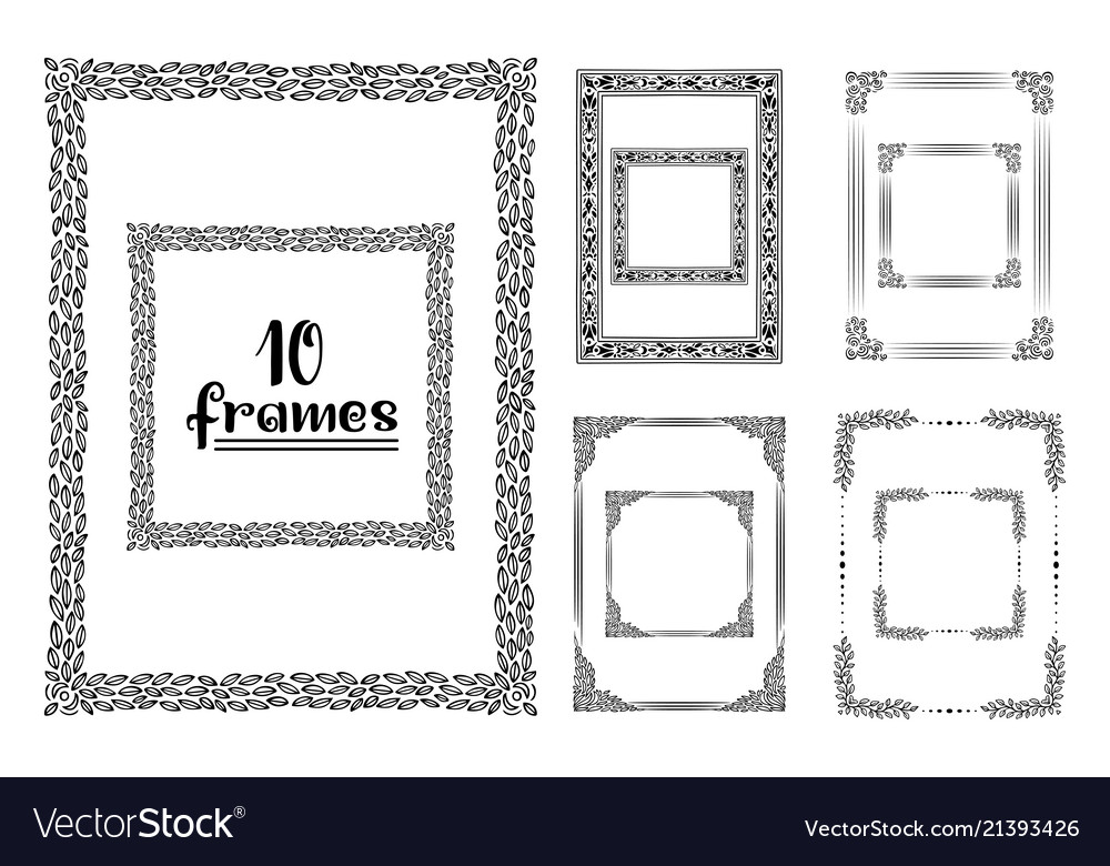 Hand drawn frames isolated sketch black