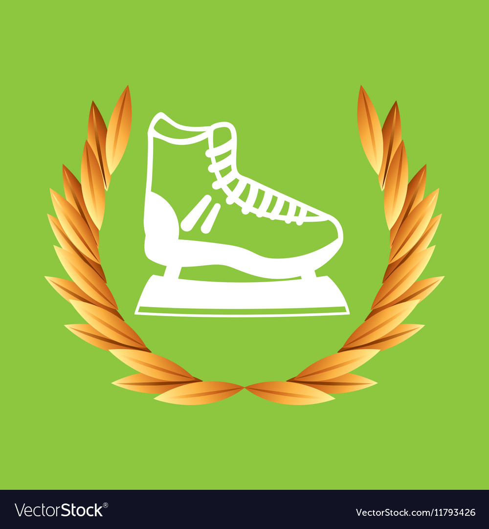 Ice skate sport olympic blue badge vector image