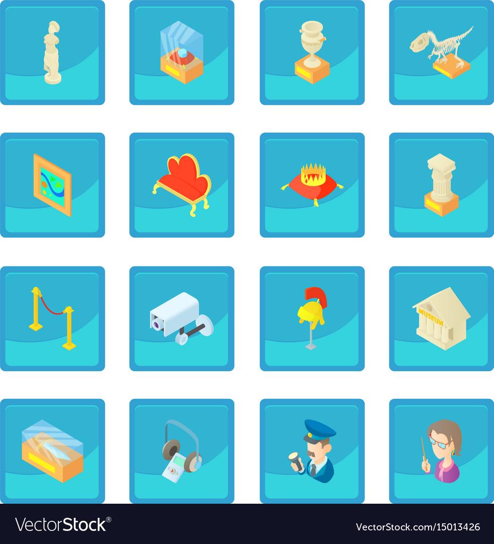 Museum icon blue app vector image