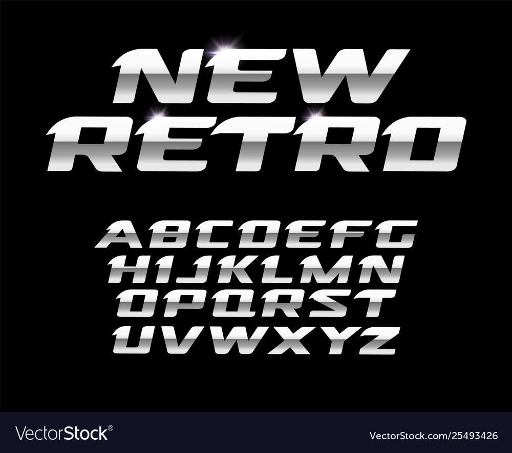 New retro letters set polished steel texture