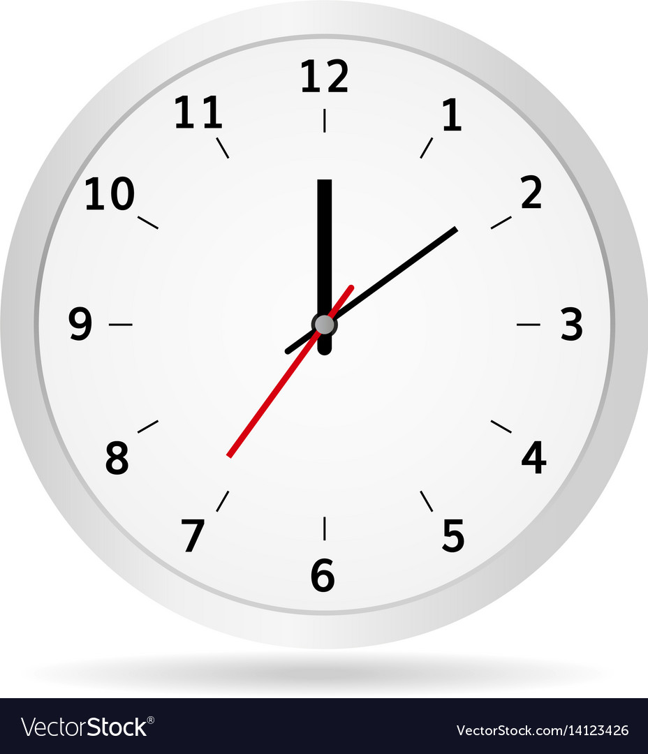Office clock classic white vector image