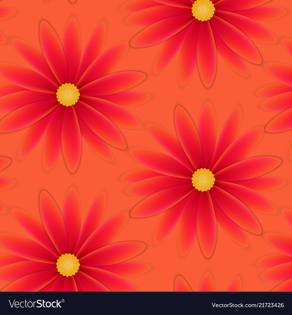Pattern with flowers with red petals