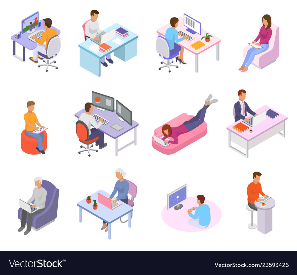 People work place business worker character