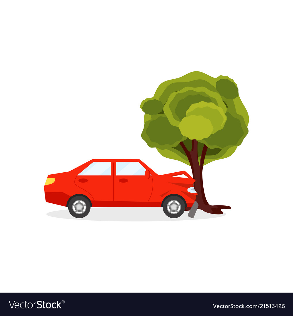 Red car crashed into big green tree auto accident