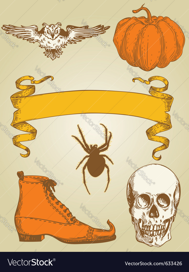 Set of vintage hand drawn halloween objects vector image