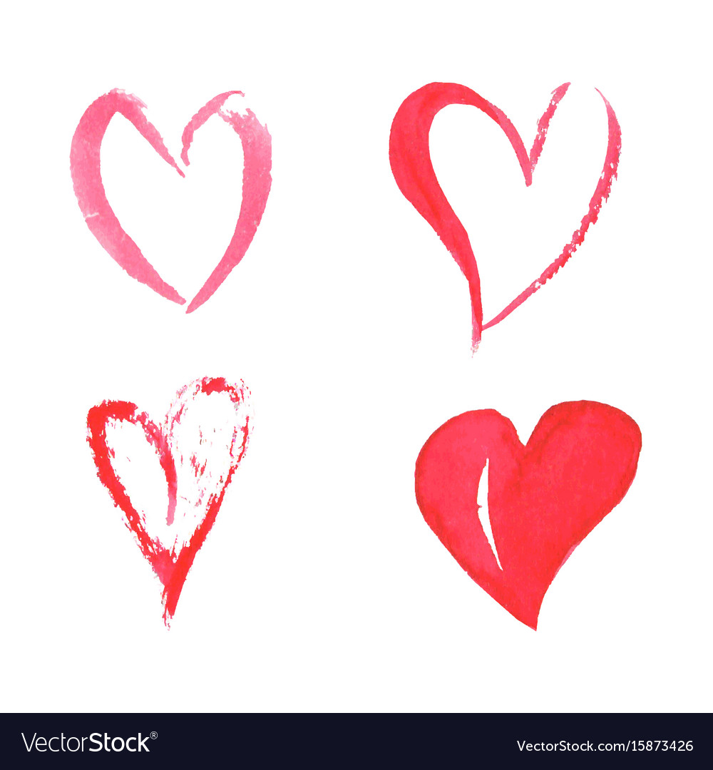 Set of watercolor hearts on white background