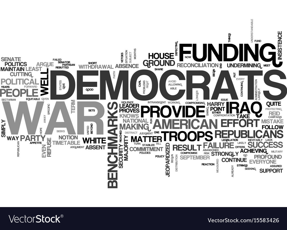 Why democrats should fund the war text word cloud