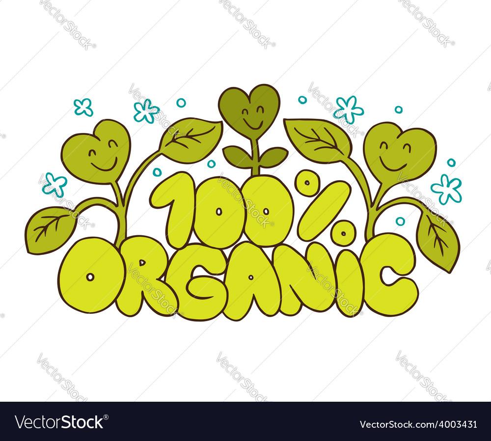 100 Organic natural product vector image
