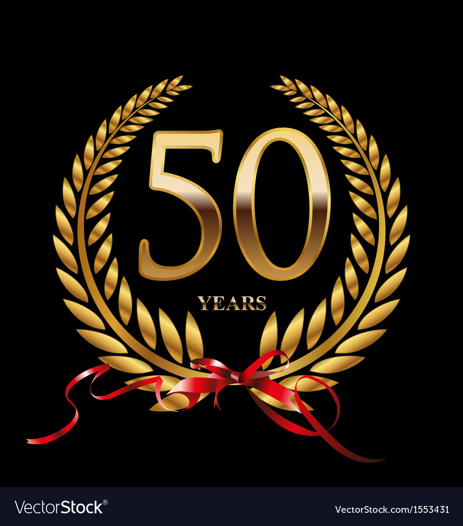 50 Years Anniversary Laurel Wreath Royalty Free Vector Image