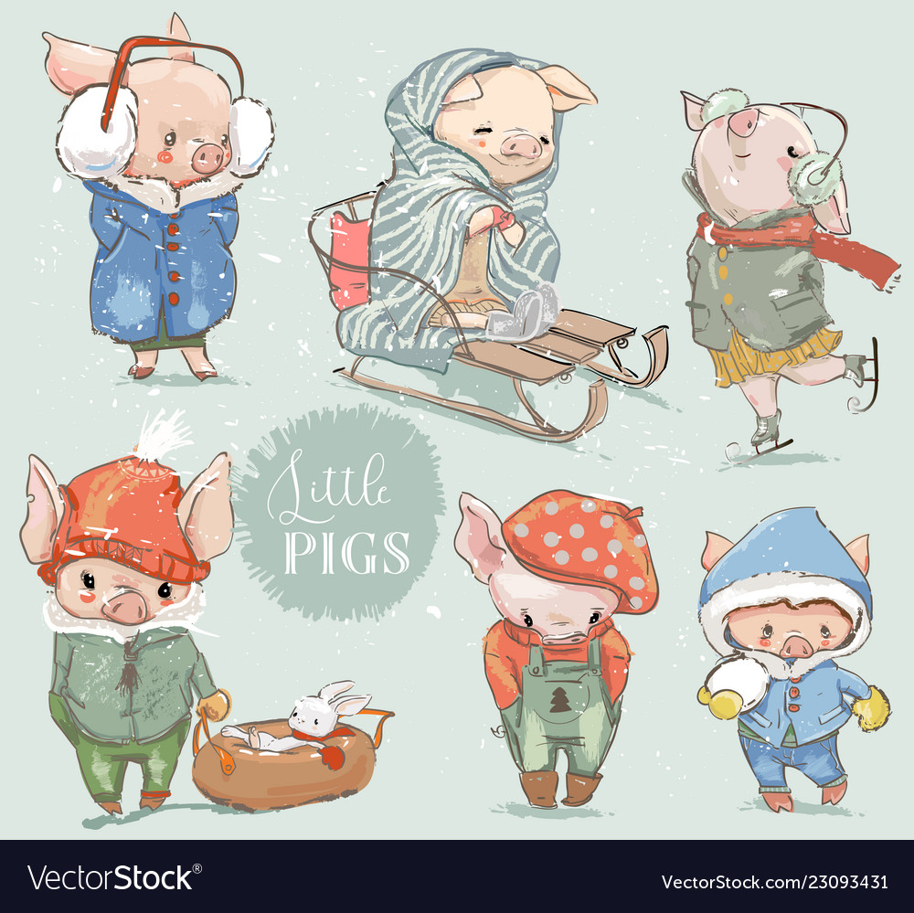 Cute lovely cartoon pigs clipart collection