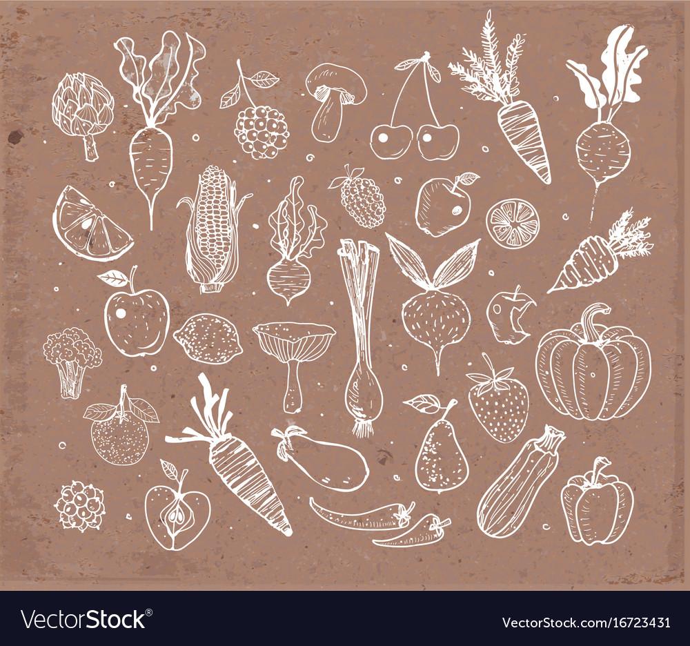 Doodle fruits and vegetables on brown parcel paper vector image