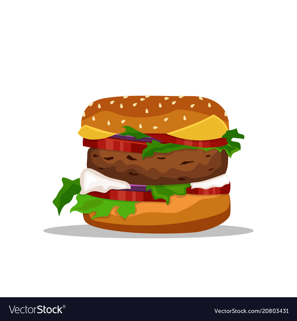 Drawing of hamburger with cheese tomatoes