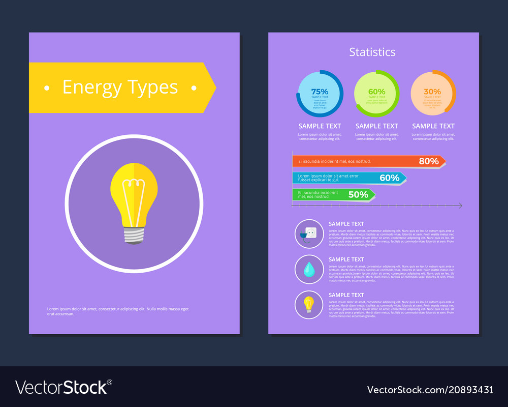 Energy types statistics sample text colorful card