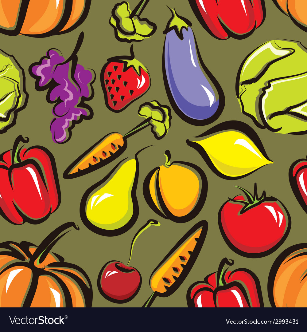 Food background with fruit and vegetables seamless