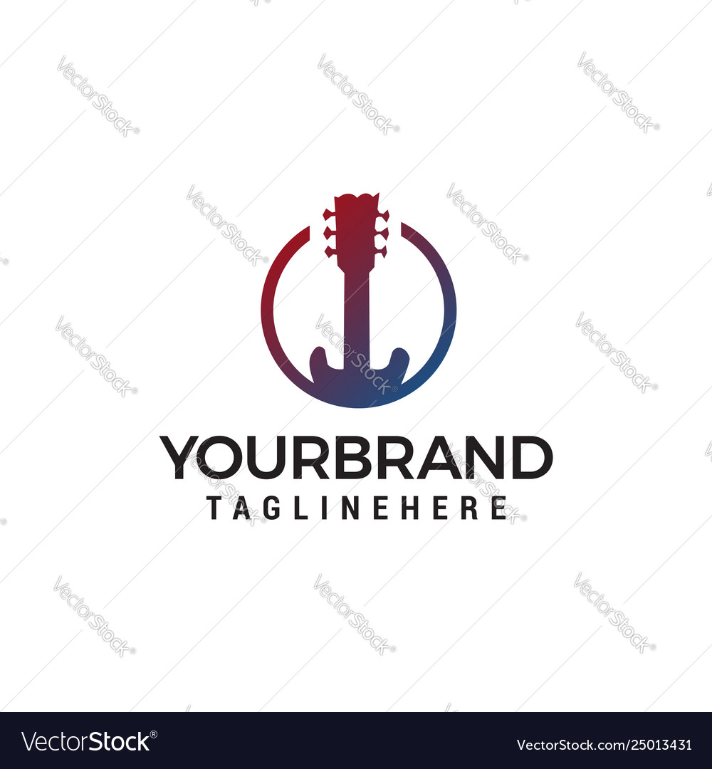 Guitar logo design concept template