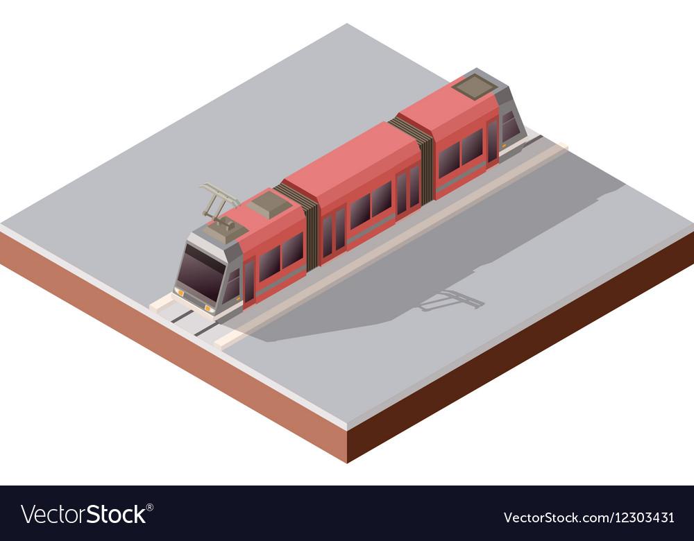 Isometric light train on the rails