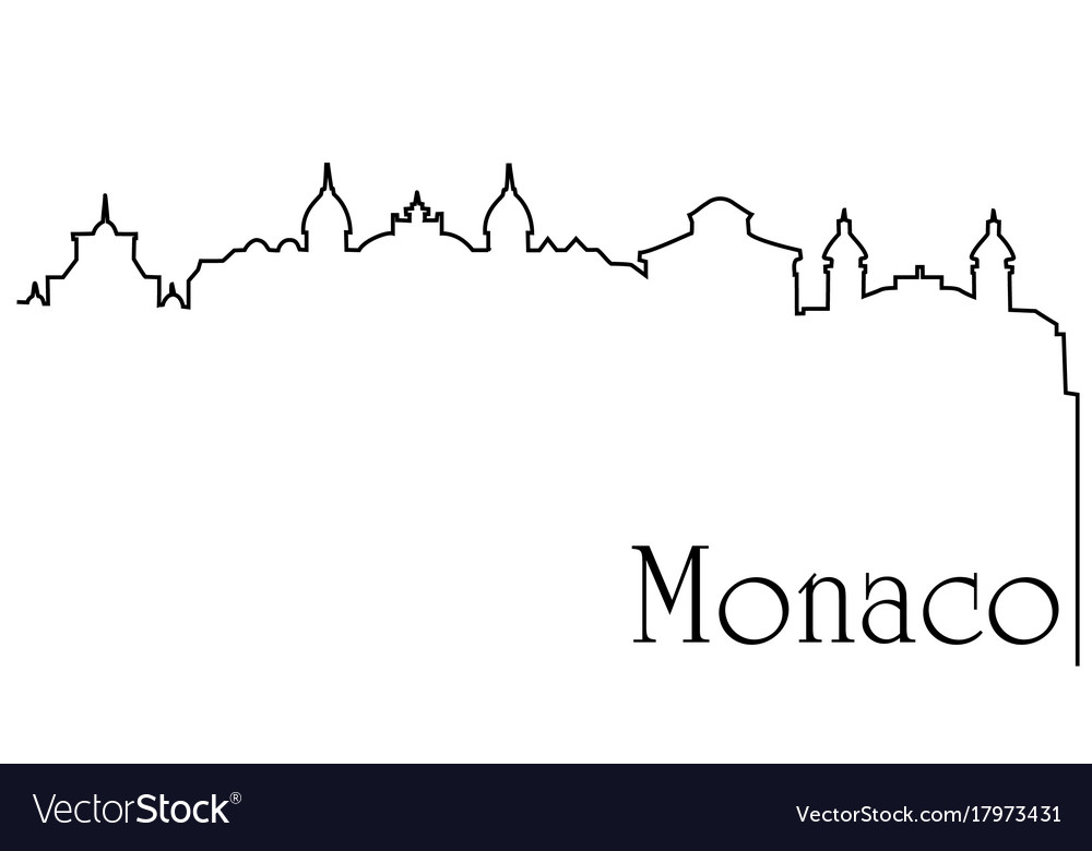 Monaco city one line drawing background