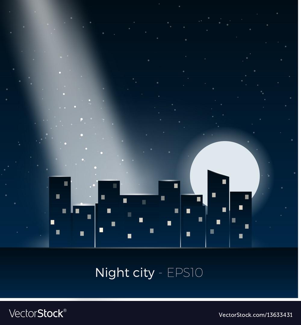 Night city silhouette vector image