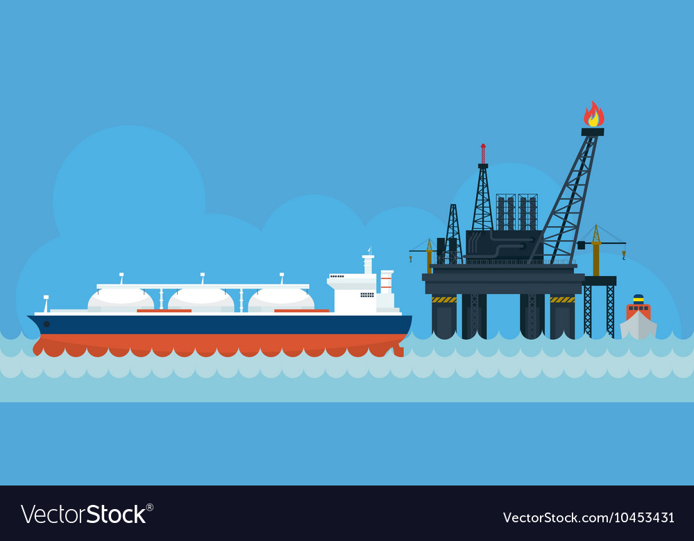 Oil Rig and Tanker Ship Side View vector image