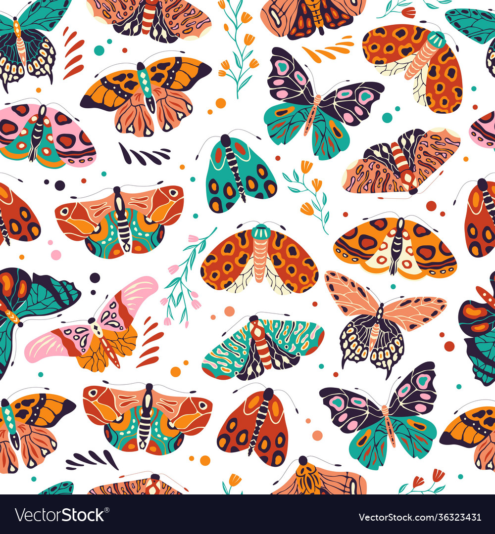 Seamless pattern with colorful hand drawn