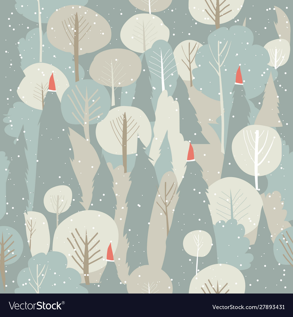 Seamless winter forest pattern christmas