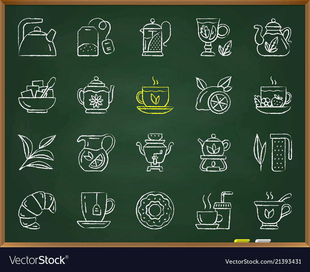 Tea chalk draw line icons set