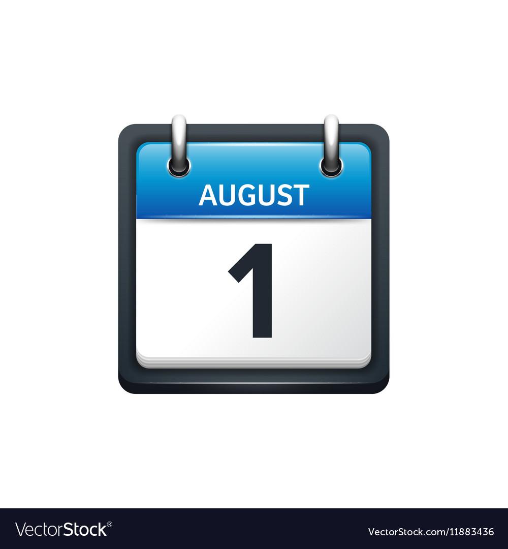 August 1 Calendar icon flat vector image
