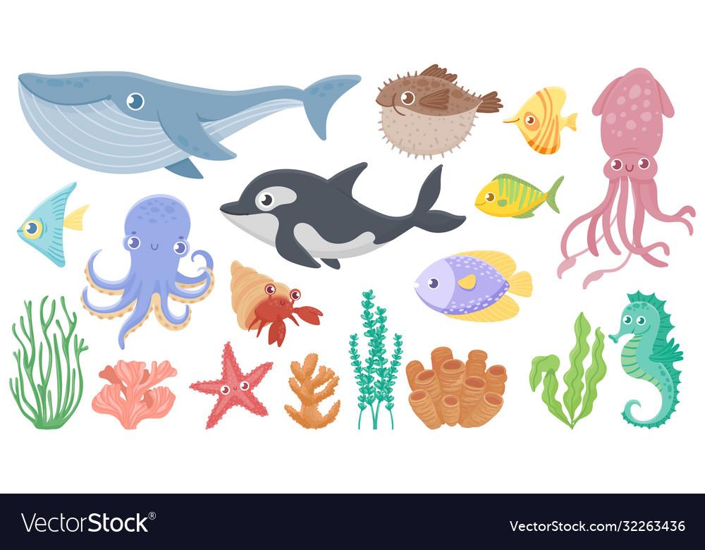 Cartoon ocean animals funny blue whale cute