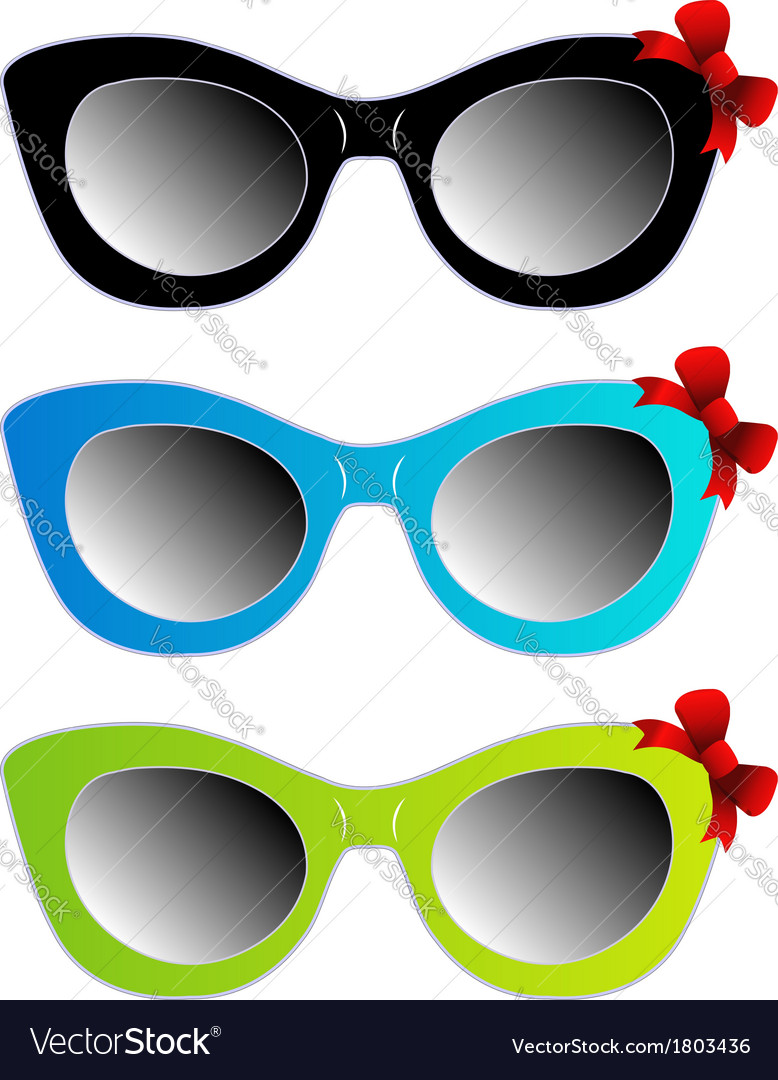d92718e6c9c Colorful cat eye sunglasses with red bow Vector Image