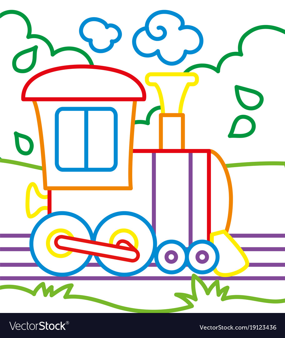 Coloring book of train rides Royalty Free Vector Image