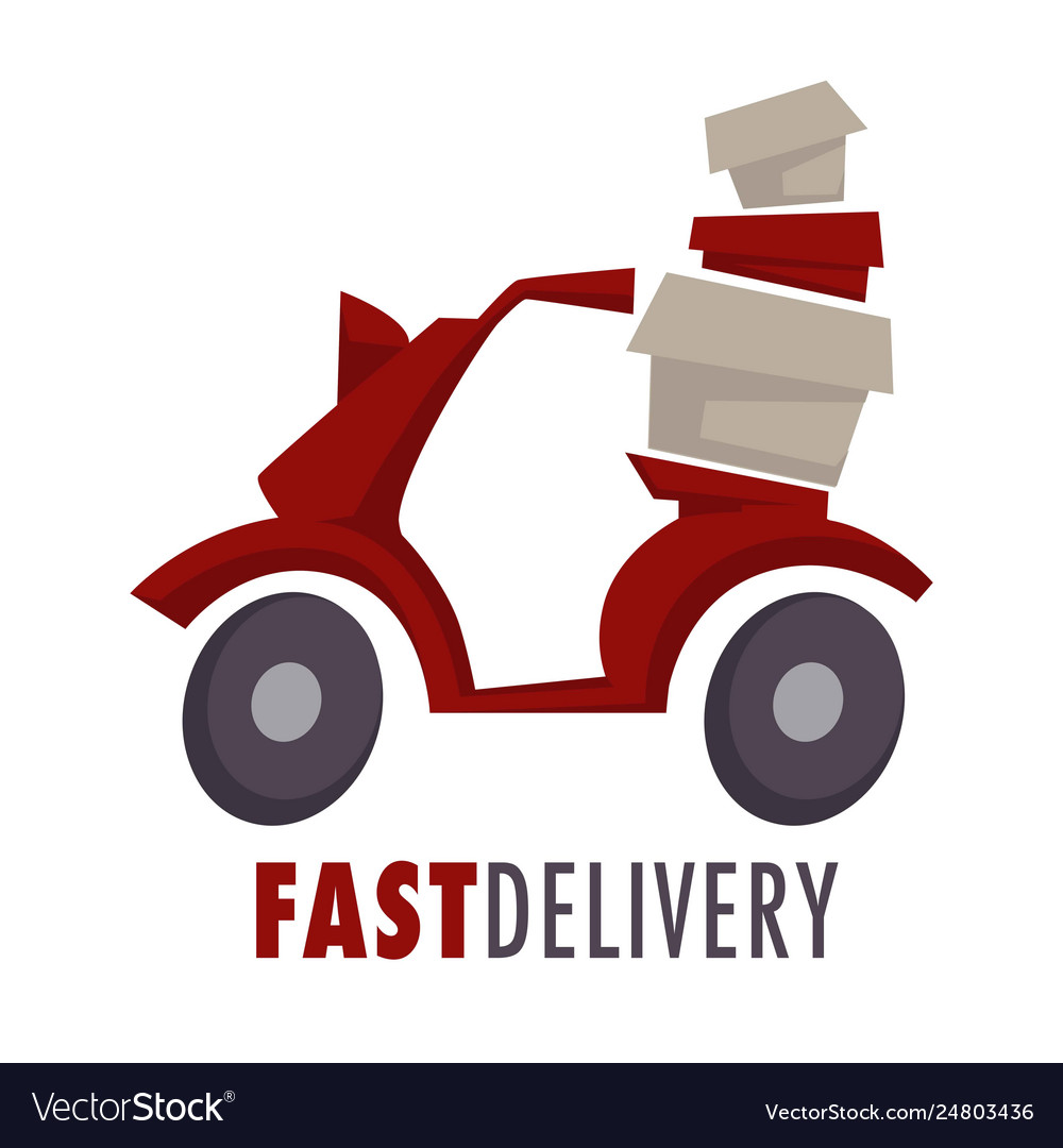 Fast delivery isolated icon moped with boxes or