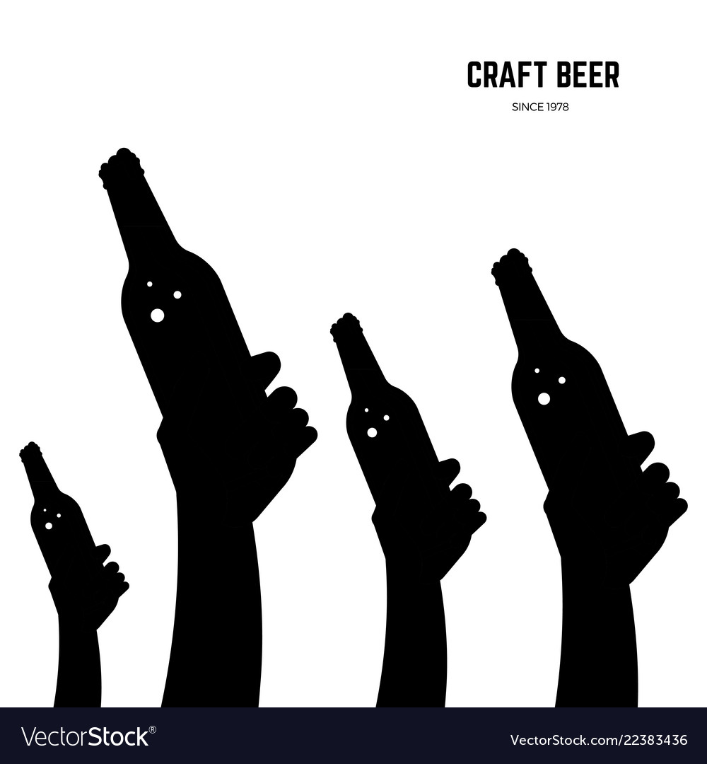 Hands with beer bottles black silhouettes